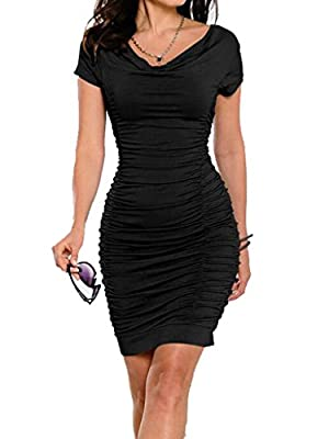 Blooming Jelly Women's Stretch Ruched Bodycon Midi Dress Party Black