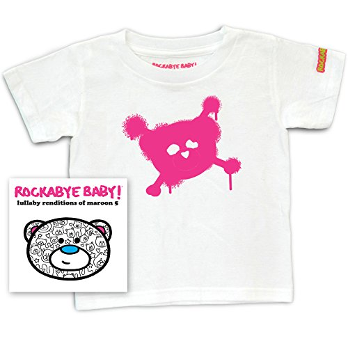 Rockabye Baby! Lullaby Renditions of Maroon 5 + 100% Organic Cotton Toddler T-Shirt (White/Pink) ()