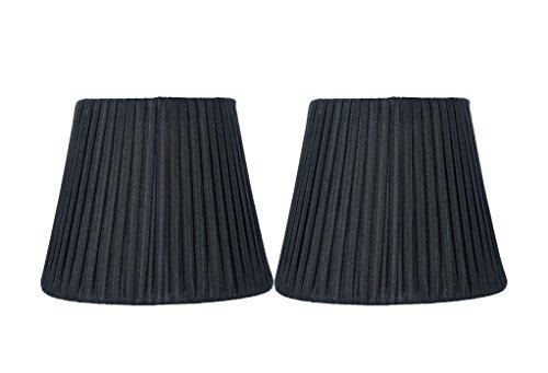 Black Shades Silk Chandelier (Urbanest Box Pleated Mini Chandelier Lamp Shade, Black, 3x6x5
