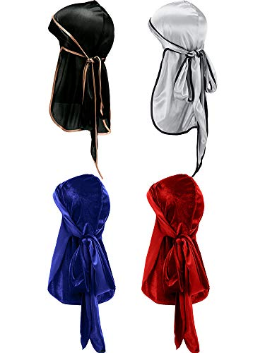 (Tatuo 2 Pieces Velvet Durag and 2 Pieces Silky Soft Durag Cap Headwraps with Long Tail and Wide Straps for 360 Waves (Style C))