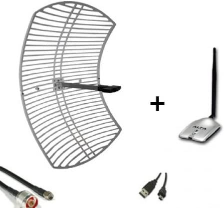 Pack Alfa Network 24dBi USB. Antena WiFi Grid 24dBi + ...