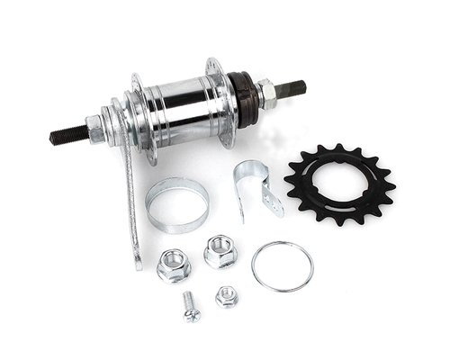 CLOVER Bicycle Cycling Fixed Bike Cr-Mo Singlespeed Rear Coaster Brake Hub Gear Screw Thread Freewheel 36 Holes with 16T Sprocket Accessory Kit - Silver by Clover