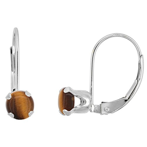 10k White Gold Natural Tiger Eye Leverback Earrings 5mm Round 1 ct, 9/16 inch