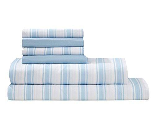 Valencia Light Panel (Debra Valencia Microfiber Trey Stripe Sheets By Virah Bella-King Size-Light Blue/White-6 Pc Set 2 Bonus pillowcases!)