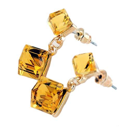 Austrian Crystal Cube Stud Earrings Square CZ Stud Earrings for Women Luxury - Crystal Austrian Huge