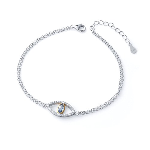 925 Sterling Silver Double Strand Cubic Zirconia Evil Eye