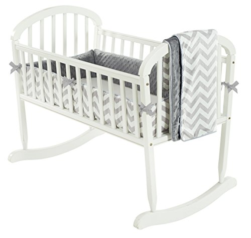 Baby Doll Bedding Minky Chevron Cradle Bedding Set, Grey by BabyDoll Bedding