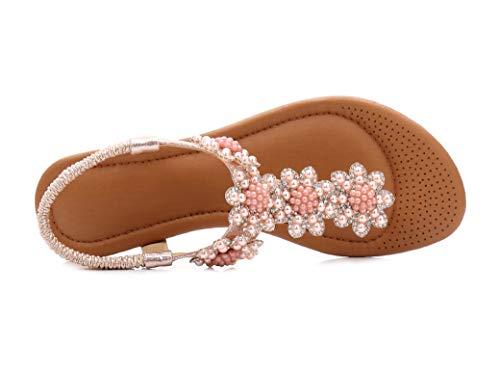 D'été Haute Belles Rétro Mode Chaussures Qualité Rose Plates Perlées Fortuning's De Jds® Design Sandales 8vqYv