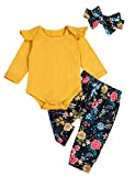 Newborn Baby Girls Clothes Ruffle T-Shirt + Floral Pants + Headband + Hat Outfit Sets (D-Yellow, 0-3 Months)
