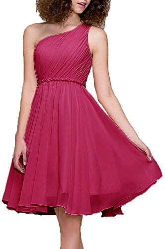 99Gown Bridesmaid Dresses Short Cocktail Dress One Shoulder Prom Formal Dresses for Women, Color Fuschia,2