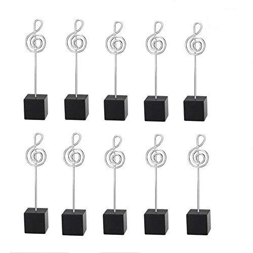 TOOGOO 10pcs Music Shape Table Number Holder Name Place Card Holder Memo Clip Holder Standr Pictures Card Paper Menu Clip … (Black) ()