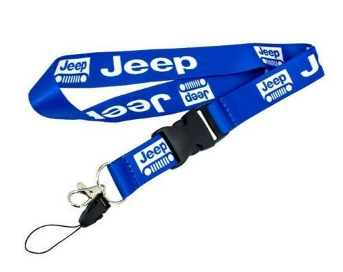 Neck Strap Car Double Side Logo Nylon Blue Lanyard Keyring Key Chains for Jeep