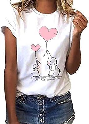 MINXINWY Camisetas de Mujer Tallas Grandes, Cute Impreso Camisetas de Verano Mujer Manga Corta Tops Blusa Casual Señoras Camisetas de Algodón Blusas de Estampado de Elefante bebé: Amazon.es: Deportes y aire libre