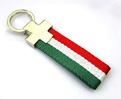(BENZEE Italy Flag Colored Stripe Nylon Band Car Key Chain Keychain Sport Racing For Ferrari FIAT ALFA ROMEO)
