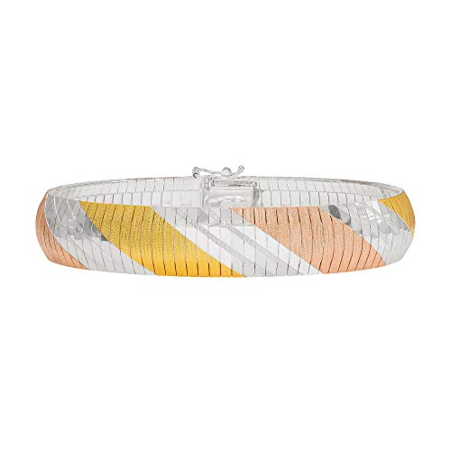 Ellen Tracy Sterling Silver Tri Color Omega Bracelet, Made in Italy ()