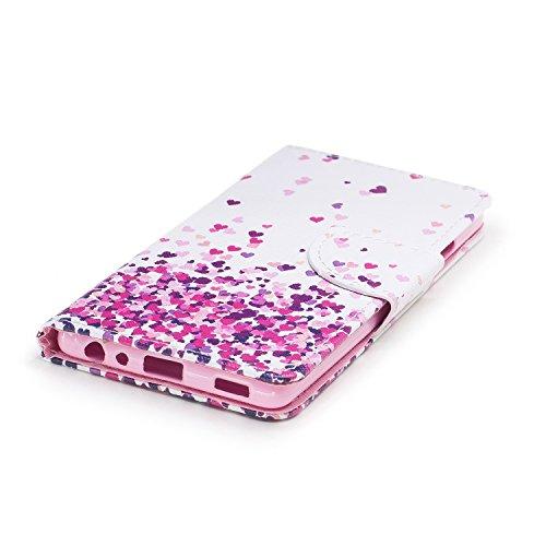 Huawei P9 Hülle, Chreey PU Leder Schutzhülle mit Feder Traumfänger Muster Bumper Flip Wallet Case Handyhülle Liebe Regen