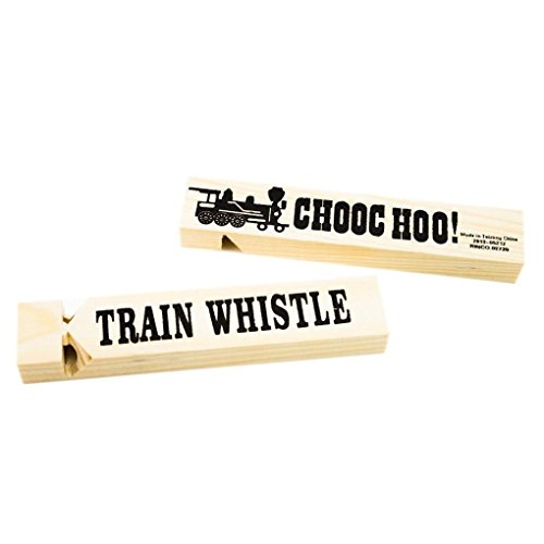 Mememall Fashion 12 pc Dozen Wooden Wood Toot Toot Train Whistles Children Party Favors Toy