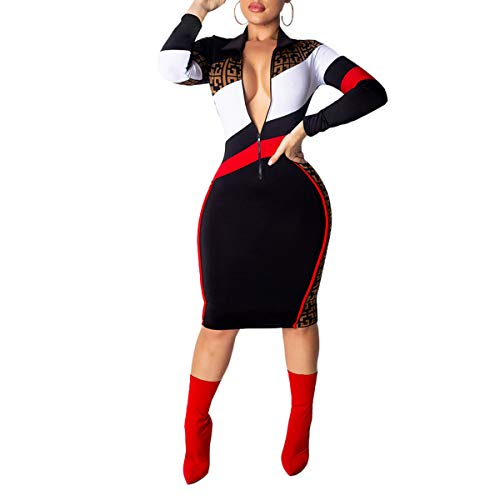 Women's Striped Stitching Lapel Slim Sexy Midi Dress Ladies Long Sleeve Casual Bodycon Dress Fmeijia Black ()