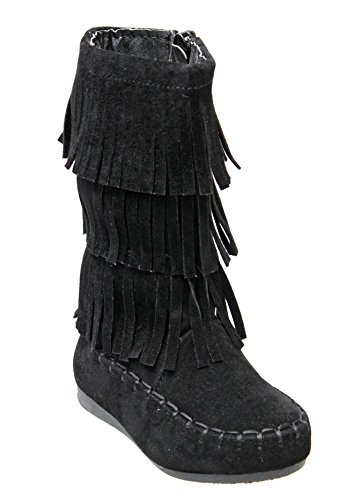 Forever Candice-48K Child Girl Snow Boots Mid Calf Comfortable Boots,Black,2