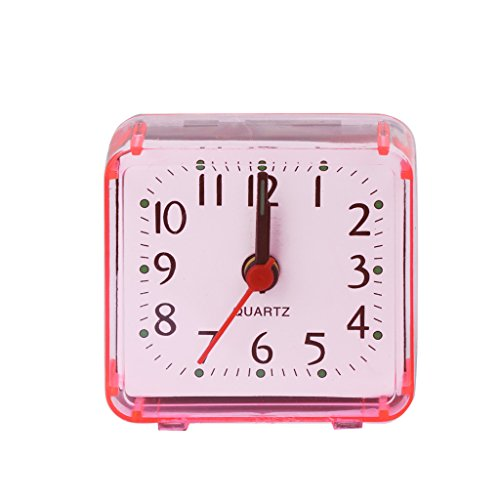 EA-STONE Modern Wall Clock,Square Crystal Mini Alarm Clock - Pink Battery Operated for Home Living Room ()