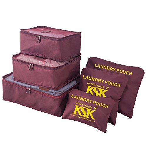 HongyuTing 6Pcs Waterproof Clothes Packing Cubes Travel Luggage Organizer Bag, Wine