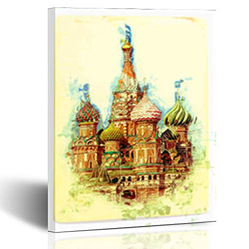 Aika Designs Canvas Prints Wall Art Xmas Painting St Basils Cupola Cathedral On Red Sunrise 8 x 10 Inches Modern Painting Decor Stretched Wooden Framed Wrapped Artwork
