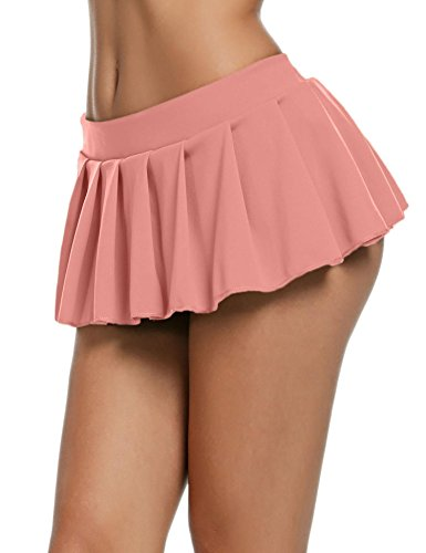 - Goldenfox Mini Soft Stretch Short Skirt for Schoolgirl Women Lingerie (Pink, Medium)
