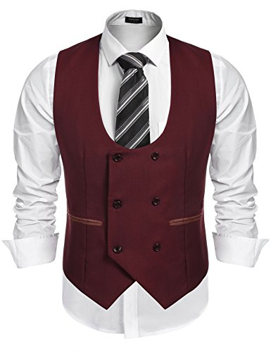 COOFANDY Men's Slim Fit Dress Suits Double Breasted Solid Vest Waistcoat, Red, X-Large