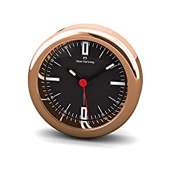 Desire Mini Collection Rose Gold Alarm Clock on Black with Minute Line Dial