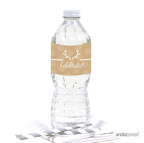 Andaz Press Birthday Water Bottle Labels Stickers, Tan Deer Antlers, 20-Pack, For Decor Decorations Dessert Table Wraps