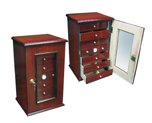 Prestige Import Group 150 Ct. Gloss Cherry Humidor w/ 7 Drawers, Door & Lock by Prestige Import Group