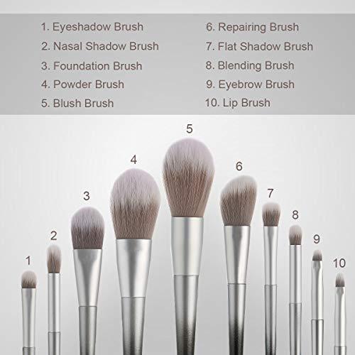 Stellaire Chern Makeup Brush Set, 10 Pcs Premium Synthetic Cosmetic Brushes, Foundation Blending Blush Powder Eye Shadow Make Up Brushes Kit - White & Black