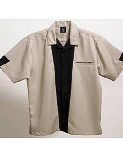 Retro Khaki Shirts (Hilton Bowling Retro Monterey (Khaki_Black) (3X))