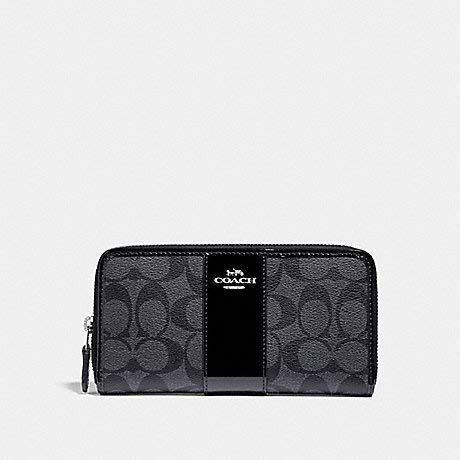COACH F35443 ACCORDION ZIP WALLET IN SIGNATURE CANVAS BLACK SILVER 2 by Coach (Image #3)