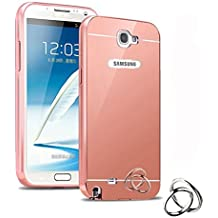 Galaxy Note 2 Case,DAMONDY Luxury Metal Air Aluminum Bumper Detachable + Mirror Hard Back Case 2 in 1 cover Ultra-Thin Frame Case For Samsung Galaxy Note 2 N7100 (Rose)