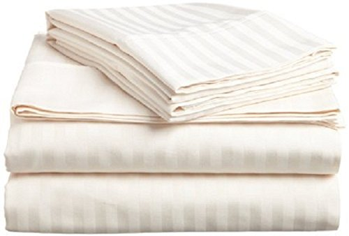 #1 Bed Sheet Set - HIGHEST QUALITY 100% Egyptian Cotton 800 Thread-Count Queen Size Wrinkle, Fade, Stain Resistant - 4 Piece 16'' Drop -By''Rajlinen'' (Ivory Stripe, Queen) by Rajlinen