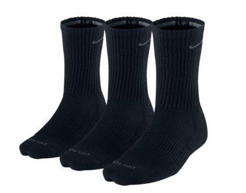Nike Men's Dri-Fit Cushioned Crew Socks - 3 Pack (Black, XL Shoe Size: 12-15)