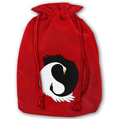 - Hweoweek Bags Santa Sack with Drawstring, Yin Yang Swans Reusable Fabric Present Wrapping Bag
