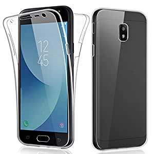 SDTEK Funda para Samsung Galaxy J3 (2017) 360 Doble Delantera [Transparente Carcasa] Full Body Case Bumper Cover Suave Silicona Samsung Galaxy J3 ...