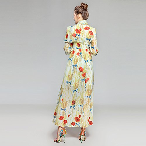 Long Women cotyledon 4 3 Dresses Swing Dress Neck Sleeve for Bowknot wCqFC8X