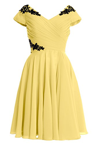 Cocktail Formal Short of Canary MACloth Sleeve Dress Cap Mother Elegant Bride Gown gzxw4Ux8W