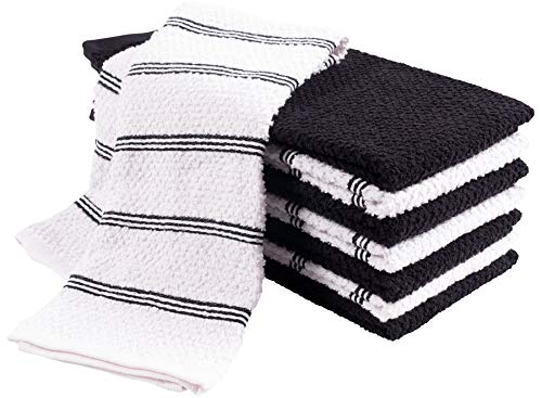 KAF Home Pantry Piedmont Kitchen Towels (Set of 8, 16x26 inches), 100% Cotton, Ultra Absorbent Terry Towels - Black