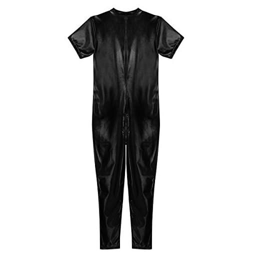 inlzdz Men's Shiny Metallic Short Sleeve Zipper Crotch Full Bodysuit Zentai Clubwear
