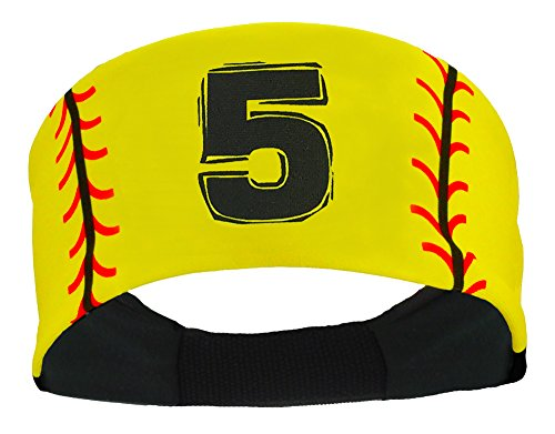 Player ID Softball Stitch Headband (Yellow, #5)