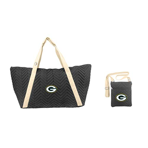 Littlearth NFL Green Bay Packers Chevron Stitch Tote and Crossbody Purse Gift Set (Green Bay Packer Diaper Bag)