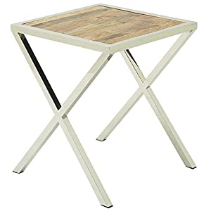 Urban Designs Stainless Steel Square Wooden Accent Table