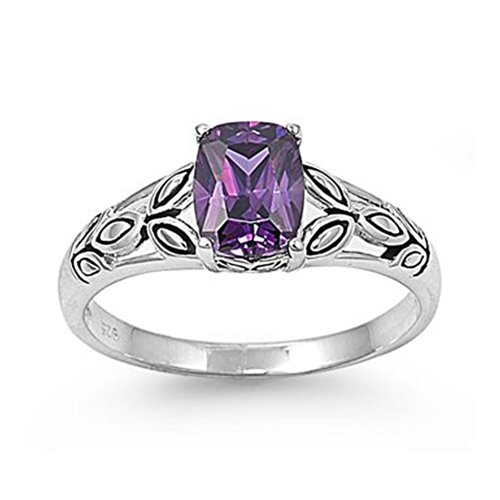Oval Leaf Ring (Sterling Silver Celtic Leaves Design Ring with Oval Purple Cubic Zirconia Stone - size7)