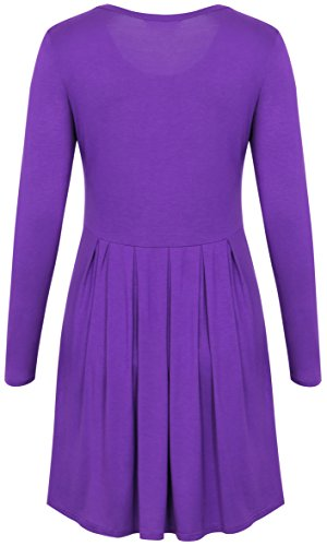 Sleeve Loose Long Fanfly Pockets Swing with Casual Dress Women Purple Pleated qwEtAFtxaU