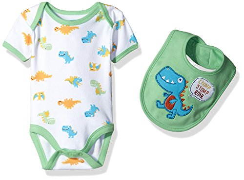 BON BEBE Baby Boys' 2 Piece S/S Lap Shoulder Bodysuit and Bib Set, Green Dino, 3-6 Months