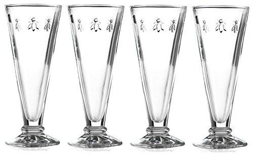 La Rochere Set of 4 Bee Design Glass Champagne Flutes (French Bee Glasses)